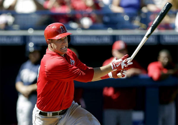 Mike Trout singled and scored on a passed ball in the first inning and walked in the third against the Brewers.