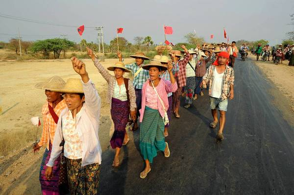 Myanmar villagers protest a Chinese-backed copper mine that has sparked outrage over seized land, health problems and poisoned water.