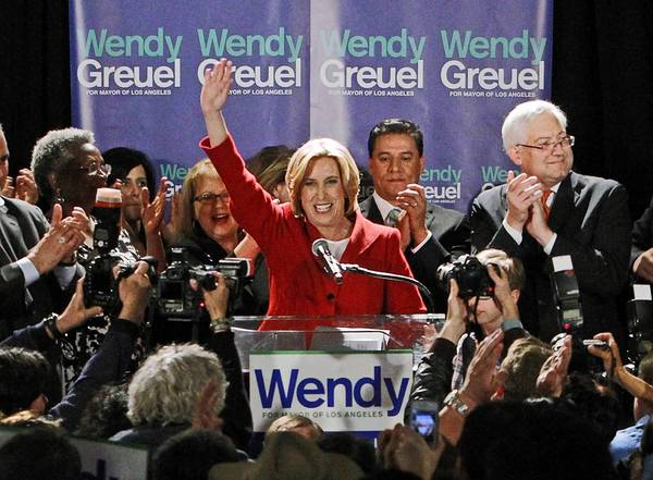 Wendy Greuel has reshuffled her campaign leadership with two months left in the L.A. mayor's race after four staffers resigned March 21.