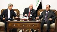 U.S. Secretary of State John Kerry meets with Iraq's PM Nouri al-Maliki in Baghdad