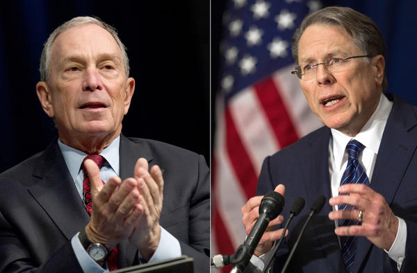 New York Mayor Michael Bloomberg, left, and National Rifle Assn. head Wayne LaPierre took their battle over firearms to television.