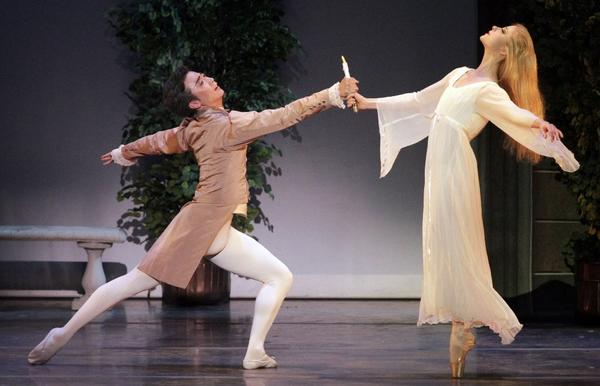 "Zheng Hua Li as the Poet and Chelsea Paige Johnston as the Sleepwalker in Los Angeles Ballet's performance of ""La Sonnambula"" at UCLA's Royce Hall."
