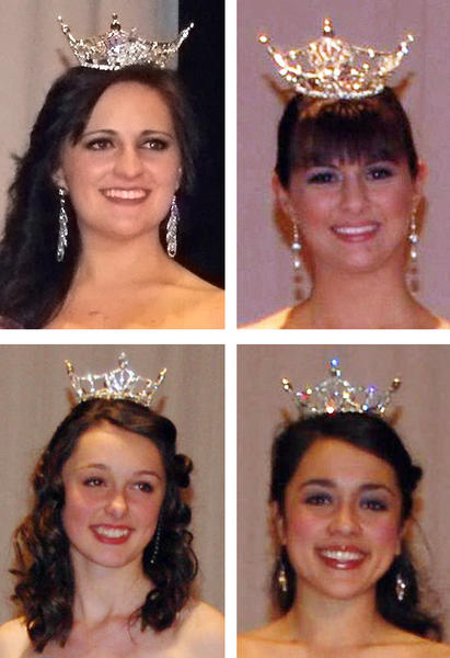 Emily Gallagher, top left, of Middletown, Md., was crowned Miss Smithsburg Saturday. Boonsboro High School senior Megan Kiley, top right, was crowned Miss South Mountain. Leah Ellis, 14, lower left, of Smithsburg was named Miss Smithsburg Outstanding Teen. Brynn Dao, 14, also of Smithsburg, lower right, was named Miss South Mountain Outstanding Teen.