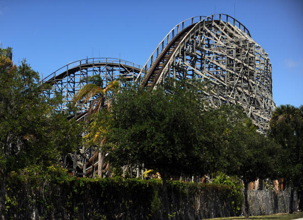 The roller coaster is not in operation at Boomers! in Dania Beach on April 28, 2011.