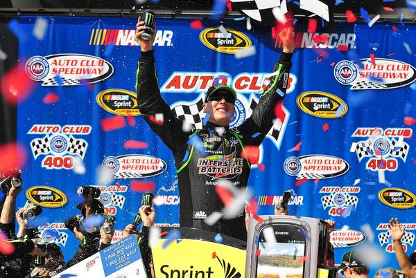 Kyle Busch got the win at the Auto Club 400 on Sunday.