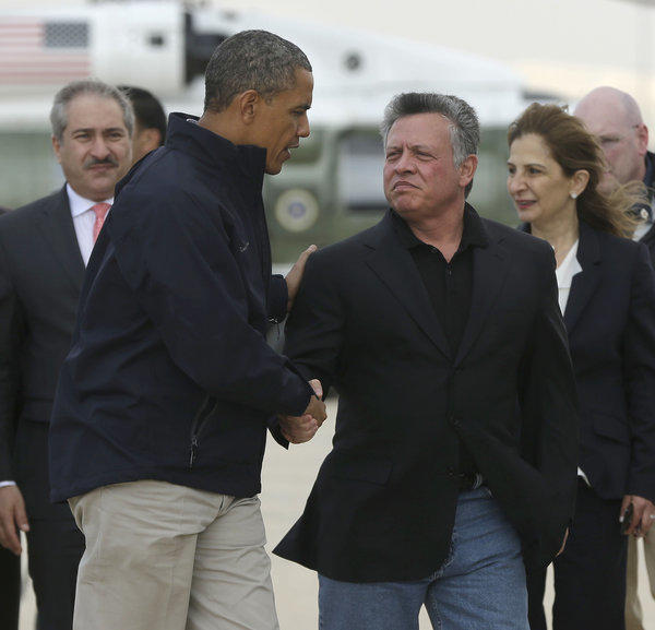President Obama talks with King Abdullah II as he concludes a visit to Jordan. Abdullah faces criticism at home for comments he made in an interview with the Atlantic magazine.