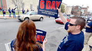More than 100 people attended a rally Sunday afternoon in downtown Hagerstown that a local branch of the National Association of Letter Carriers held to advocate maintaining six-day delivery of mail.