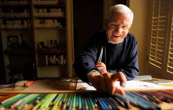 Robert Clary, 87, enjoys pencil painting at his house in Beverly Hills.