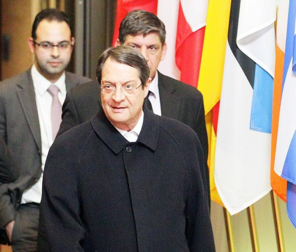 Cyprus President Nicos Anastasiades leaves a special meeting in Brussels on the economic crisis in his country.