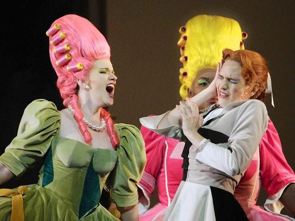 "Stacey Tappan as Clorinda, left, and Ronnita Nicole Miller as Tisbe, center, as the spoiled sisters and Kate Lindsey as Angelina/Cinderella in L.A. Opera's ""Cinderella"" at the Dorothy Chandler Pavilion in Los Angeles."