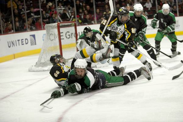 New Trier senior Chris Dubin (51) and Glenbrook North junior John McNally (66) fall to the ice during the first period at the United Center.