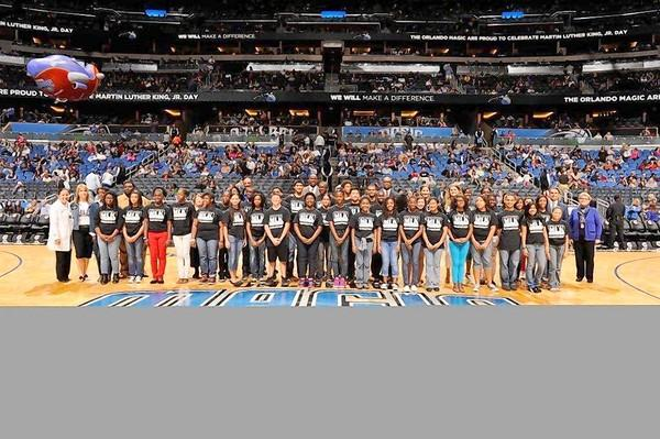 Winners of the 13th Annual Orlando Mayor's Martin Luther King, Jr. Humanitarian Awards Program, taken Sunday, January 20, 2013 at the Orlando Magic vs. Dallas Mavericks basketball game at the Amway Center.