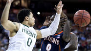 AUSTIN, Texas -- Shane Larkin hit a go-ahead 3-pointer with a minute left and Miami gained possession on a ball knocked out of bounds that probably should have gone to Illinois, helping the Hurricanes hold on for a 63-59 victory Sunday night to advance to the NCAA round of 16.
