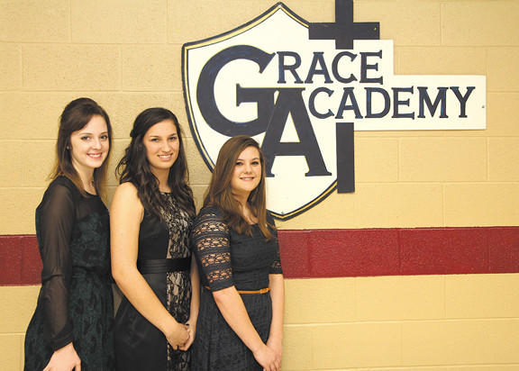 Grace Academy recently inducted students into the National Honor Society. From left, Marley Weagly, Brooke Morgan and Allison Lehman.