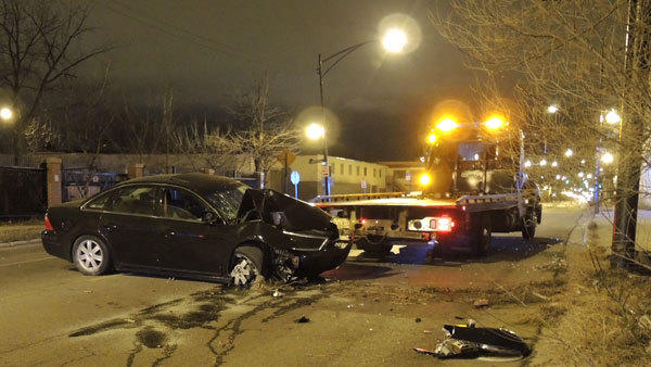 A man was left in critical condition after the car he was driving hit a pole in the Humboldt Park neighborhood early Monday morning.