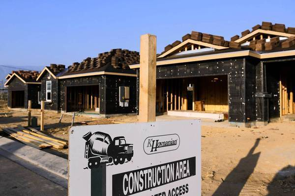 Homes under construction in Beaumont in Riverside County.