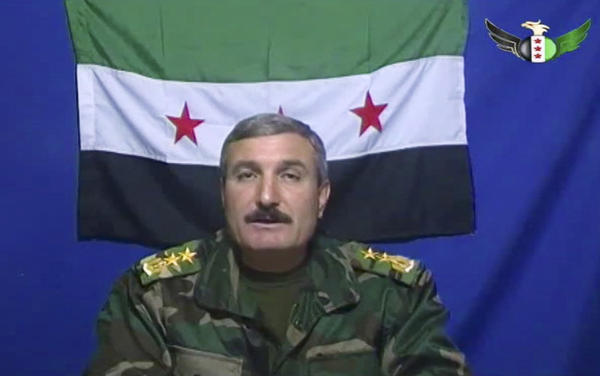 Riad Asaad appears on a video posted on Free Syrian Army's Facebook page.