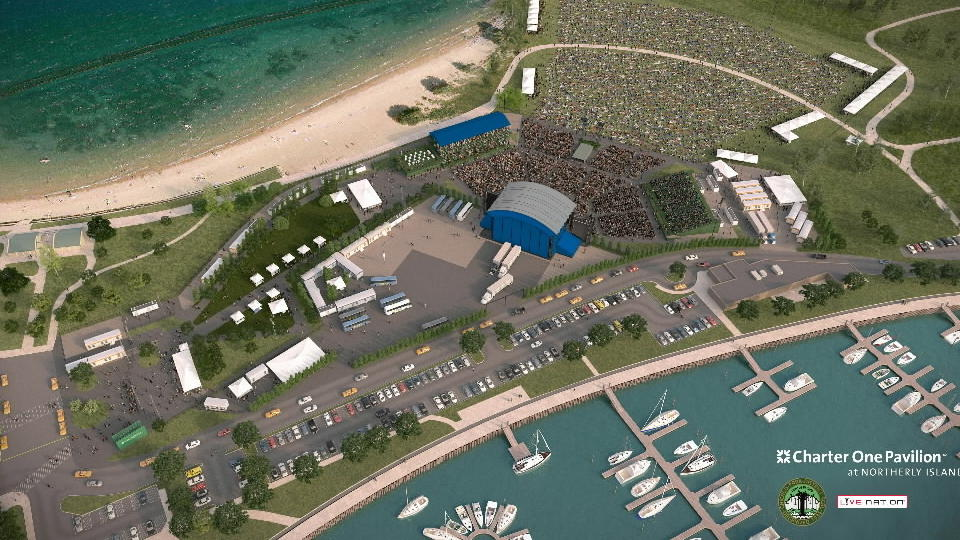 Overheard rendering view of improvements and expansions to Charter One Pavilion at Northerly Island for its 2013 summer entertainment season.