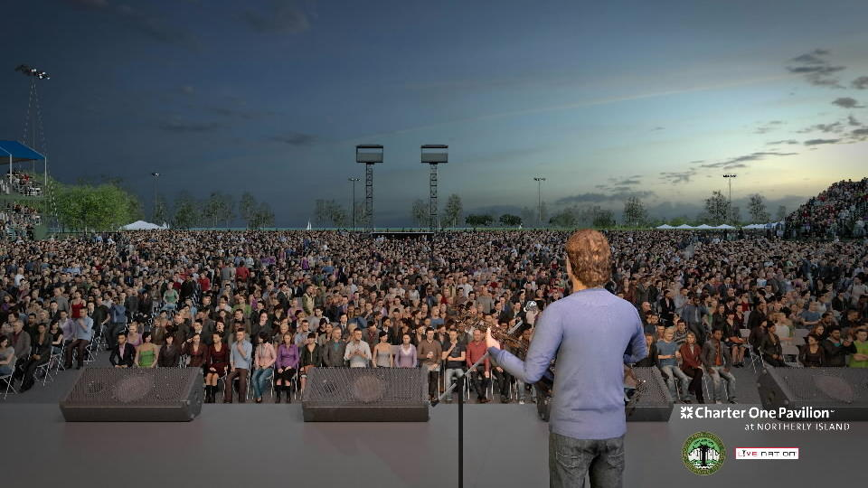 Rendering of extensive improvements and expansions to Charter One Pavilion at Northerly Island for its 2013 summer entertainment season.