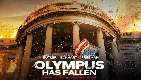 "The poster image from the White House destruction movie ""Olympus Has Fallen."""