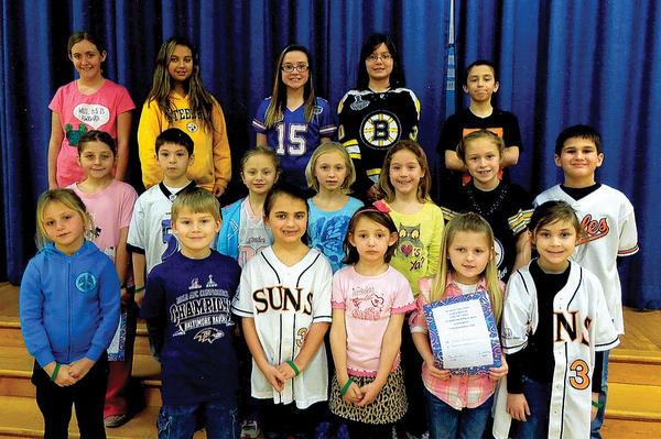 Clear Spring Elementary School hosted its third Golden Table luncheon of the school year on Feb. 26. Front row, from left, Jaelyn Greenlee, Kristian Stains, Ella Shupp, Elizabeth Papa, Sarah Briggs and Lily Yost. Middle row, Courtney Gross, Matthew Miller, Emily Shoemaker, Chloe Curry, Emily Hinz, Danielle Kerns and Cody Miller. Back row, Jordan Pine, Hannah Cunningham, Delani Faulkner, Emily Ellmore and Gabriel Henson.