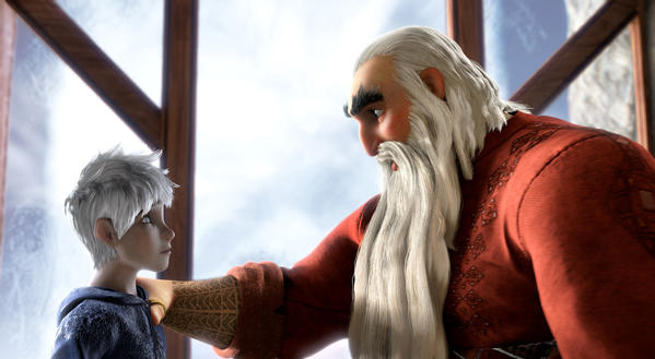 "Jack Frost (voiced by Chris Pine) learns how to be a Guardian from North (Alec Baldwin) in DreamWorks Animation's ""Rise of the Guardians,"" which debuted at the top of the DVD/Blu-ray sales chart."
