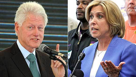 In addition to being an early and active backer of Hillary Clinton's presidential campaign, Wendy Greuel, right, worked at HUD while Bill Clinton, left, was president.