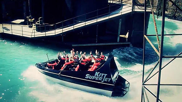 The 600-horsepower Kitt Super Jet boats at Italy's Movieland reach speeds of 50 mph while narrowly missing obstacles.