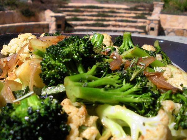 The pan-roasted broccoli-cauliflower medley makes a healthful, pretty side dish.