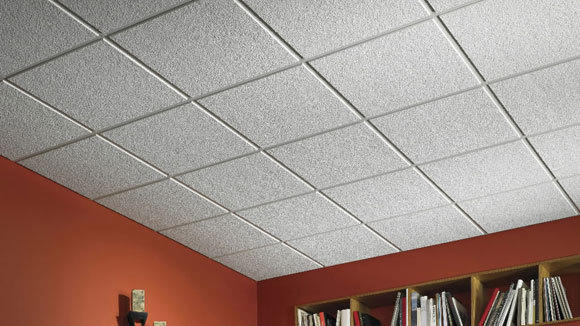 A drop ceiling is made with tiles from building-products manufacturer USG.