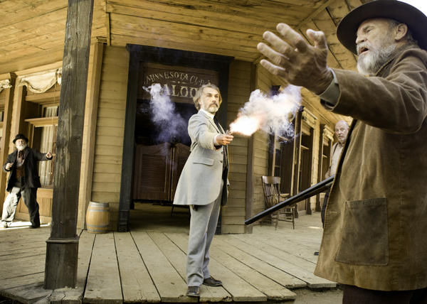 "Christoph Waltz, center, stars in the R-rated movie ""Django Unchained."" A survey by the FTC credits theater owners for improved enforcement of its ratings system."