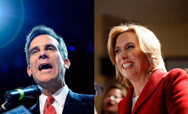Los Angeles mayoral candidates Eric Garcetti and Wendy Greuel address their supporters on primary election night.