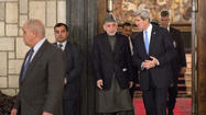 "KABUL – Secretary of State John Kerry joined Afghan President Hamid Karzai on Monday for a public show of unity, declaring that the two allies ""are on the same page"" despite weeks of unprecedented friction."