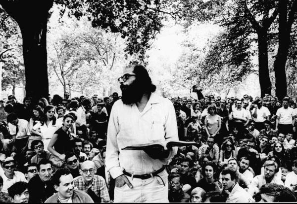 "Allen Ginsberg reads to a crowd in 1966, nine years after the publication of his controversial poem ""Howl."""