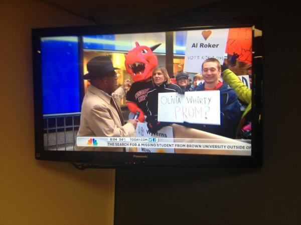 "Kingswood Oxford High School senior Hunter Sanders used an appearance on the ""Today Show"" to ask his girlfriend to prom. Sanders was with his best friend - Blake Randall, in the Wyvern mascot suit - and school officials to drum up votes for the Wyvern in USA Today's ""Best Mascot"" contest."
