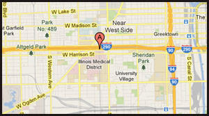 Map of location of alleged sexual assault near Rush University Medical Center.