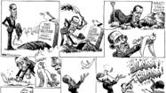 "KAL's cartoon of March 24 depicting President Barack Obama disinterring a dove representing the two-state solution, only to see the dove shot at by ""Israeli extremists"" and ""Palestinian extremists"" is witty, clever, and inaccurate. The cartoon lazily rehashes the simplistic but false narrative that zealots on both sides are responsible for continuation of the conflict and equally to blame for the lack of a peaceful resolution."