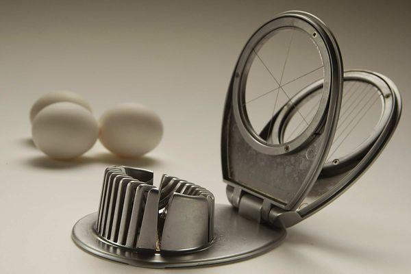 An egg slicer makes fast, clean work of slicing eggs.