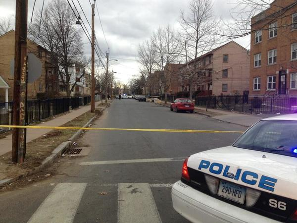 The scene of a fatal shooting Monday evening on Clark Street between Nelson and Judson in Hartford.
