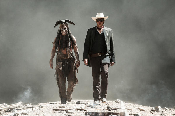 "A scene from ""The Lone Ranger,""starring Johnny Depp as Tonto and Armie Hammer as the Lone Ranger. A crew member died while preparing an underwater shoot for the film at a ranch in Acton."