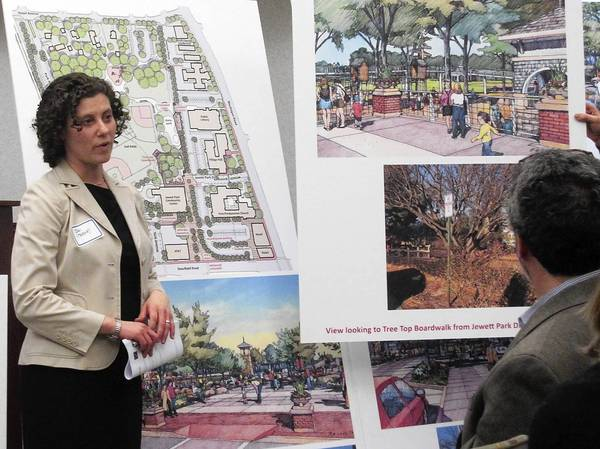Jodi Mariano, of planning consultant Teska Associates, describes some of the concepts that are part of a master planning process for Deerfield's Northwest Quadrant, around Jewett Park in its downtown.