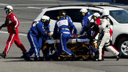 Denny Hamlin suffered a compression fracture in his lower back during Sunday's last-lap crash at Fontana, Calif.