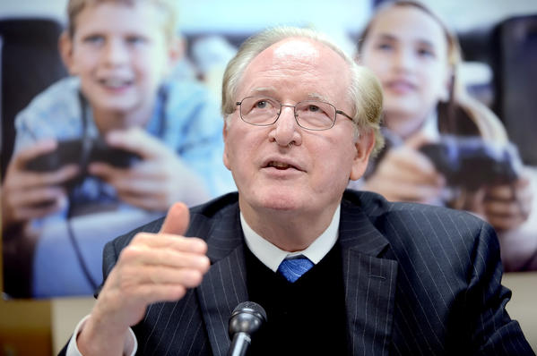 United States Sen. Jay Rockefeller, D-W.Va., spoke with local media Monday afternoon in Martinsburg, W.Va., prior to his round-table discussion on the effect violence in television, movies and video games has on children.