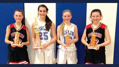 Members of the girls Berlin junior high basketball all-tournament team are, from left, Erin Berzonski, Conemaugh Township; Claire Spochart (MVP) and Geordan Hay, Berlin; Sarah Alesantrino, Conemaugh Township; and Alyson Platt and Trista Stutzman, Shanksville (not pictured).