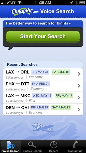 "CheapAir offers iPhone users a chance to ""speak"" their flight search requests."
