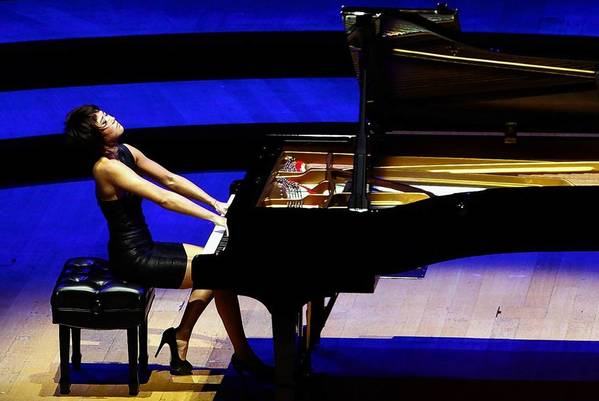 Yuja Wang performs during her first recital at the Walt Disney Concert Hall.