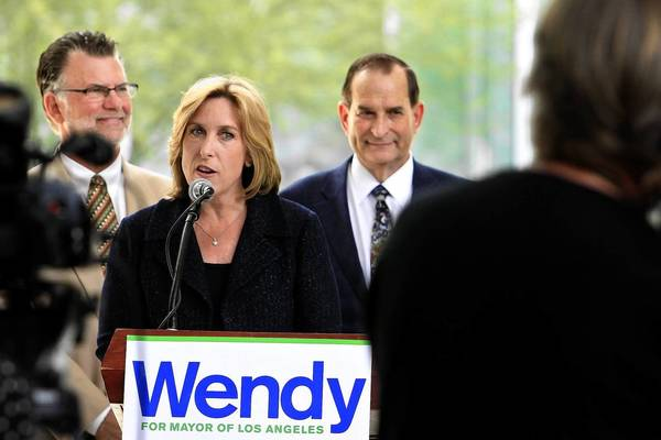 Mayoral candidate Wendy Greuel at a news conference Monday at Cal State Northridge. Greuel was an official in the Department of Housing and Urban Development in the Clinton administration.