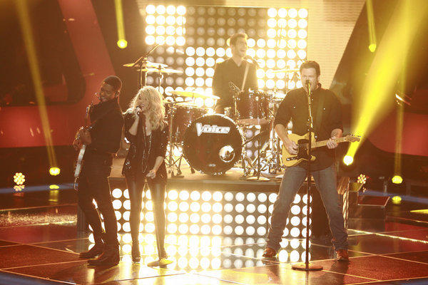 """The Voice"" Season 4 blind auditions: From left, Usher, Shakira, Adam Levine and Blake Shelton."
