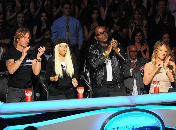 """American Idol"" judges Keith Urban, left, Nicki Minaj, Randy Jackson and Mariah Carey."