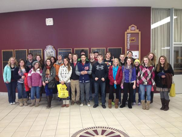 East Jordan High School juniors stop for a moment during a tour of Central Michigan University.